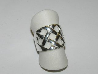Criss Cross Basket Weave Wide Band Ring Sterling Silver