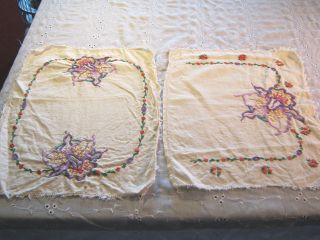 Vintage Matching Set Of Two Doilies Cream Pink Purple Yellow Green