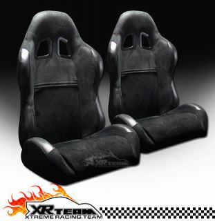 2x Universal Simulated Suede & PVC Leather Black Racing Bucket Seats