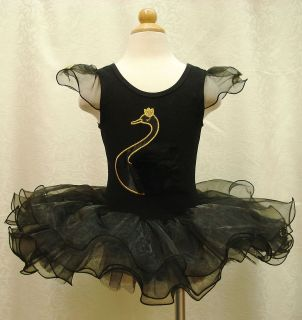 Girls Party Ballet Costume Dance Dress Swan Cygnet Black Tutu Skirt