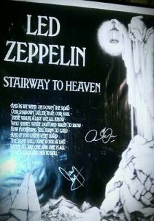 Led Zeppelin Stairway to heaven poster autographed by Robert Plant