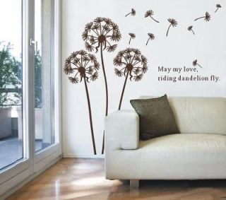 60*90CM Removable Dandelion Flower Tree Vinyl Decal Art DIY Wall