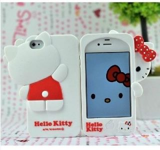 New White Cute Hello kitty Silicone Rubber Soft case cover for iphone