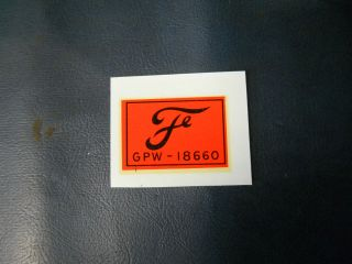 Jeep Willys MB FORD GPW F script decal for Purilator oil filter