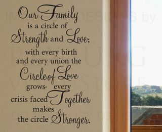 Wall Decal Sticker Quote Vinyl Art Our Family is a Circle of Strength