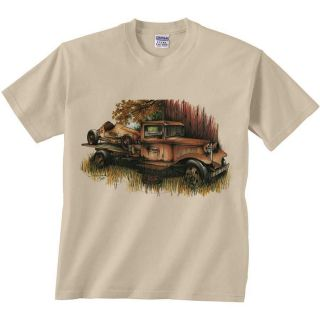 Truck T Shirt Rusty Roadster On Hauler Tee Classic Car Shirt Flat Bed