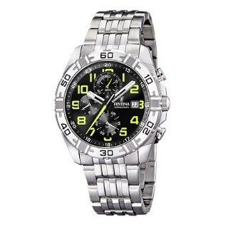 Festina Mens F16493/4 Silver Stainless Steel Quartz Watch with Black