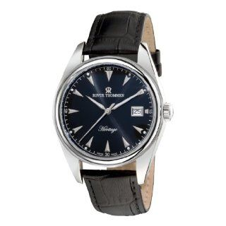 Revue Thommen Mens 21010.2537 Heritage Mens Black Leather Strap