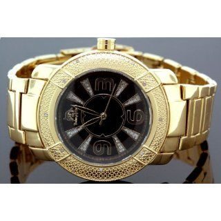 Techno Master Mens Yellow Gold plated Diamond Watch Watches