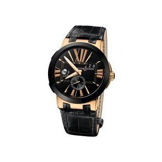 Ulysse Nardin Executive Dual Time Automatic Black Leather Mens Watch