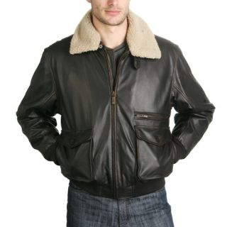 BGSD Mens Cowhide Leather Flight Bomber Jacket   Regular