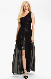 Hailey by Adrianna Papell One Shoulder Chiffon Overlay Gown