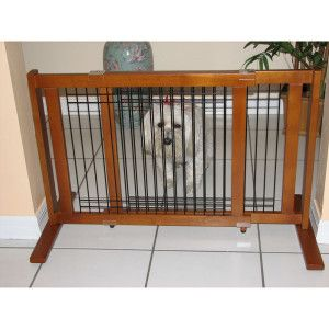 Crown Pet Products Wood & Wire Freestanding Pet Gate 21   Gates