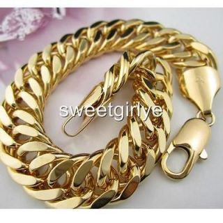yellow gold filled mens bracelet 8.66/13MM/50g CURB chain GF jewelry