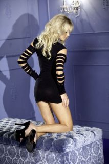 Black Seamless Long Sleeve Cutout Mini Dress @ Amiclubwear sexy