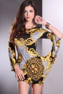 Yellow Multi Mix Prints Long Sleeves Scoop Neck Sexy Party Dress
