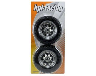 HPI Pre Mounted Super Mudders Tire w/Ringz Wheel (Chrome) (2) [HPI4726