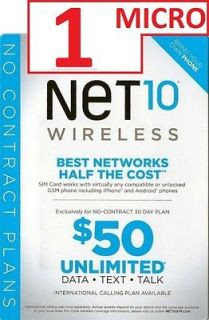 Net10 MICRO SIM Card Activation Kit BRAND NEW NEVER ACTIVATED