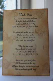 BUTTERFLY Wedding Wish Tree Poem Vintage Style Beautiful Design