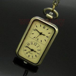 New Bronze Quartz Pocket Watch Dual Double Two Time Zone Movement