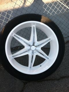WHITE RIMS TIRES 6X139.7 HUMMER H3 305 35 24 TIRES CHROME INSERTS