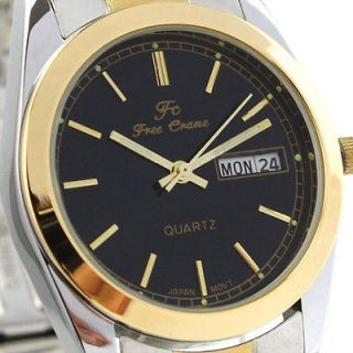 Elegant Black Face Mens Stainless Steel Week Date JP Movt Quartz Wrist