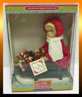 Classic Treasures GIRL ON SLED Christmas Fine Bisque Porcelain Doll