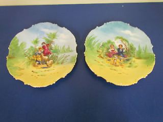 Vintage? Set of Two Limoges China Plates w/ Gold Edge, Sheep & Pick
