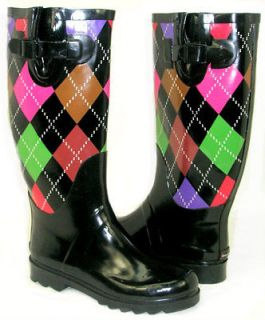 LOVE IT Flat GALOSHES WELLIES RUBBER RAIN Boot Riding BLACK GREEN