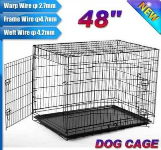 NEW 2 Doors 48 Large Folding Metal Pet Dog Crate Cage Kennel US