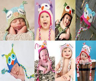 Owl Newborn Baby Child Girls Boys Knit Hat Cap Photograph New Gift