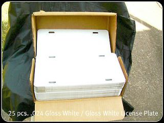 25 pcs024 WHITE GLOSS ALUMINUM LICENSE PLATE / CAR TAG BLANKS.