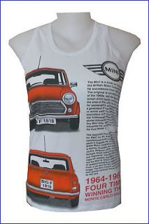 Tank Top Mini Cooper 2 Classic Car Coupe ENGLAND Vintage S Retro