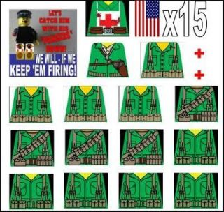 Lego WW2 American Field Soldiers Sticker Decals Green custom decals