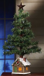 rustic country style christmas tree w log cabin base new