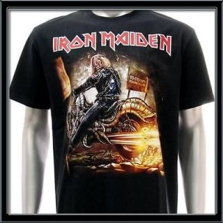 sz l iron maiden t shirt heavy metal rock rider skull punk