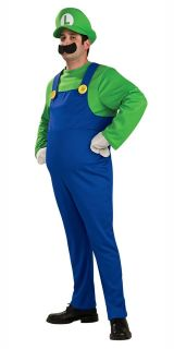 Deluxe Luigi Super Mario Bros Fancy Dress 1980s Game Mens Adult