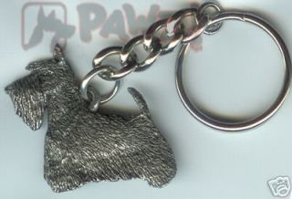 SCOTTY Scottish Terrier Scotty Dog Fine Pewter Keychain Key Chain Ring