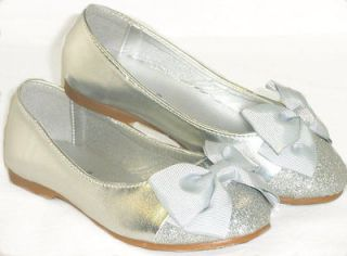 Cute Bow Girls Kids Cap Toe Ballet Flats*Casual/ Pageant Dress*SILVER