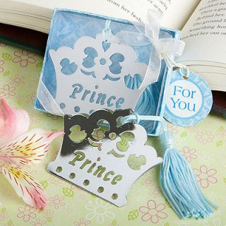 84)Prince Crown Bookmark Favors 1st Birthday Boy Baby Shower Blue
