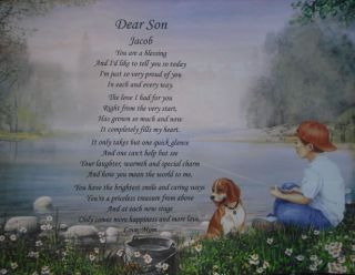 DEAR SON PERSONALIZED POEM BIRTHDAY OR CHRISTMAS GIFT LITTLE BOY