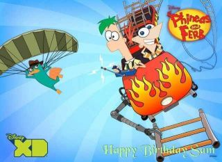 Phineas and Ferb Edible Image Cake Topper Personalized 1/4 sheet