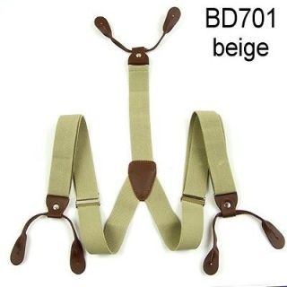 New Mens Adjustable Button holes Unisex suspenders Solid womens braces