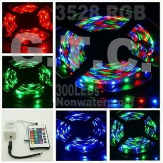 RGB 3528 LED Strip Lights 5M Nonwaterproof 300leds + 24KEY IR remote
