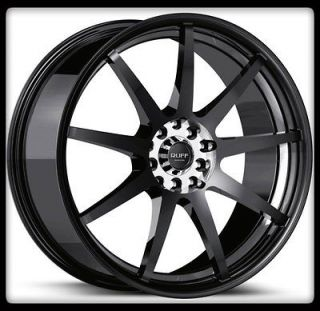 17 X 7.5 RUFF RACING R353 GLOSS BLACK MACHINED PRELUDE NEON TERCEL
