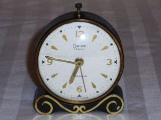 VINTAGE SWIZA COQUET 4 JEWELS ALARM CLOCK SWISS MADE WORKS GREAT