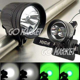 2x CREE LED XM L T6 +XPE R2 GREEN LED Bicycle Light Bike Lamp