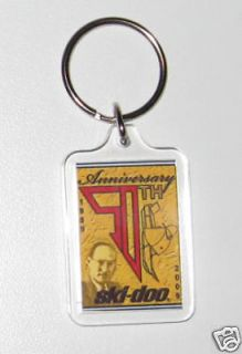 50th ski doo bombardier vintage snowmobile keychain fob from canada
