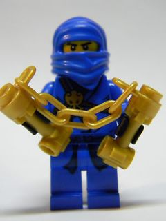 NEW Lego Ninjago BLUE Ninja JAY ZX DX NUN CHUCKS GOLD Minifigure