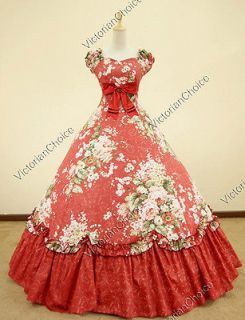 Southern Belle Civil War Cotton Floral Print Gown Dress Reenactment
